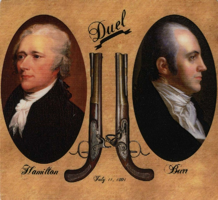 Image result for aaron burr mortally wounds alexander hamilton in a duel